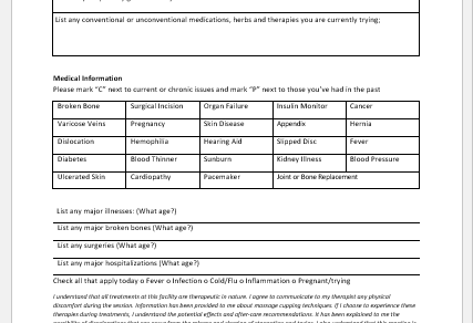 Cupping Intake Form Template