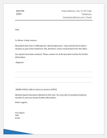 Psychiatrist Excuse Note Template