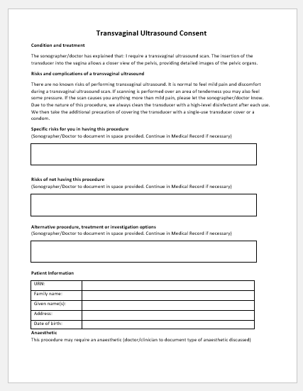 Transvaginal Ultrasound Consent Form