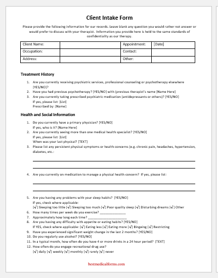 Therapy Intake Form Template