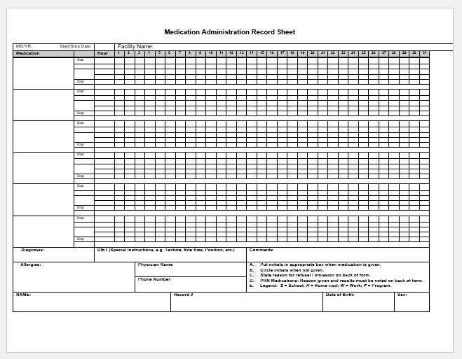 Medication Administration Record Sheet Sample For Word Printable Medical Forms Letters Sheets