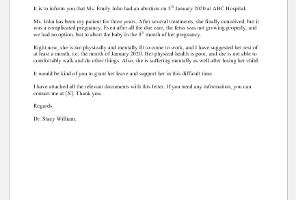 Fake abortion letter from doctor
