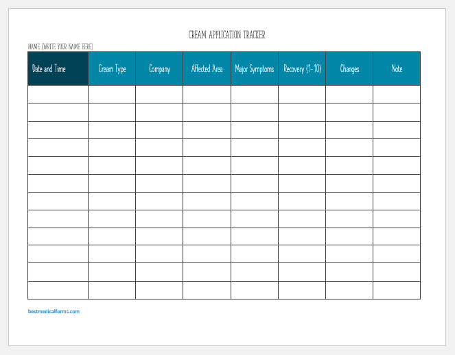 Cream Application Tracker Template for Word