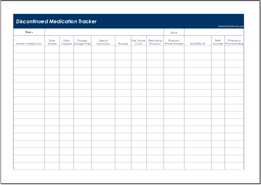 Discontinued Medication Tracker Template for Excel