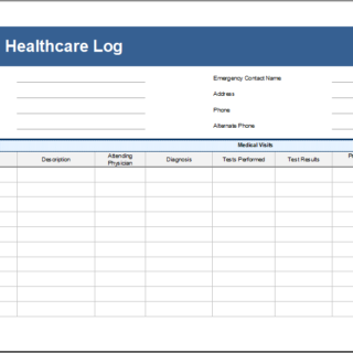 Home Health Care Log Template for Excel