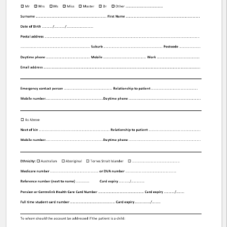 New Patient Intake Sheet Template for Word
