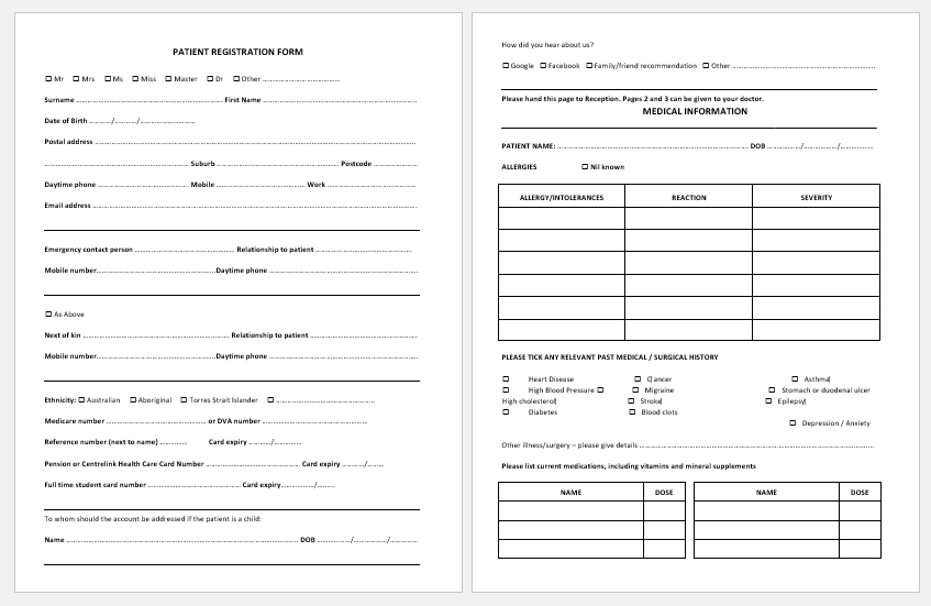 Patient Registration Form Template for Word -1