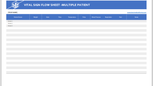 Multiple patient vital sign flow sheet template