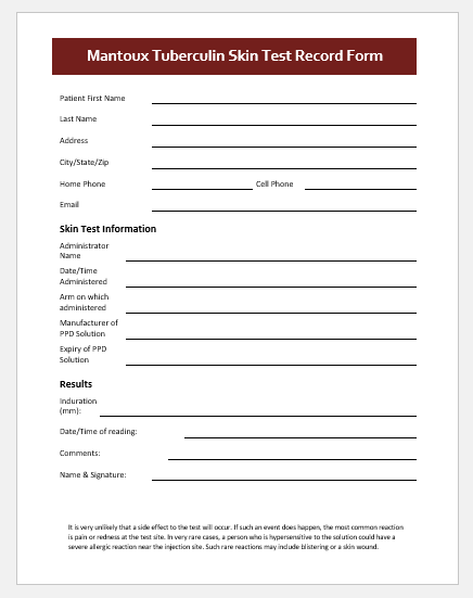 TB Skin Test Record Form Template