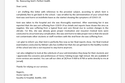 Return to School Note from Doctor