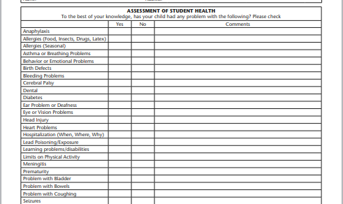 Student monthly health assessment form
