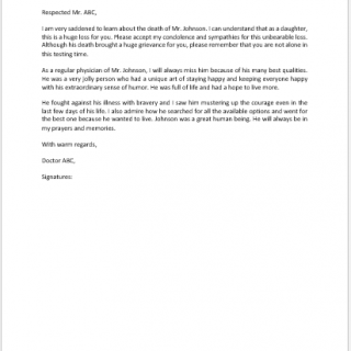 Condolence Letter from Doctor