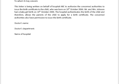 Doctor Authorisation Letter for Birth Certificate