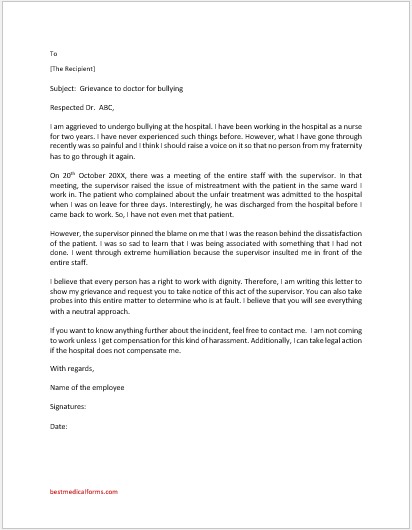 Grievance Letter to Doctor for Bullying