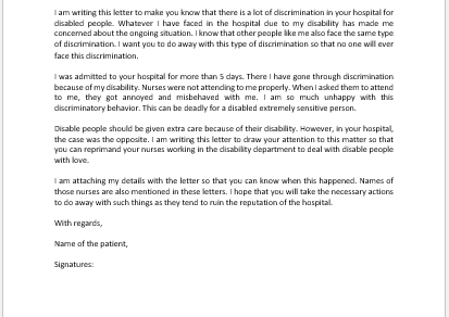 Grievance Letter to Doctor for Discrimination