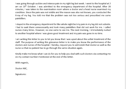 Grievance Letter to Doctor for Unfair Treatment