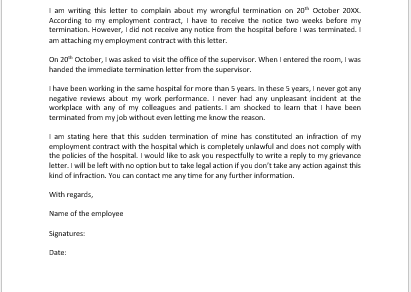 Grievance Letter to Doctor for Wrongful Termination