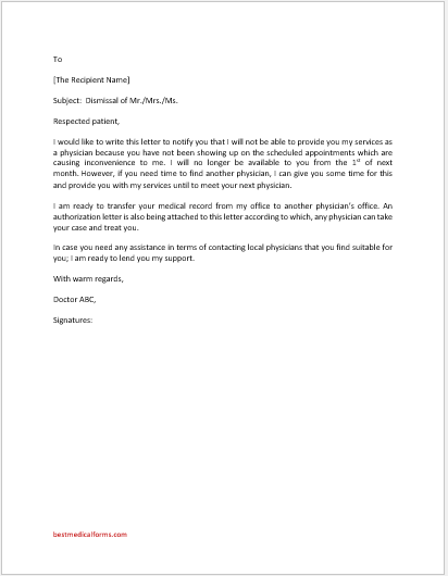 Physician Dismissal of a Patient Letter
