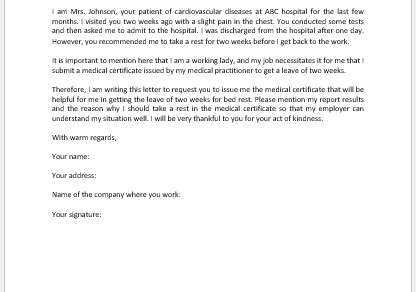Request Letter to Doctor for Medical Certificate