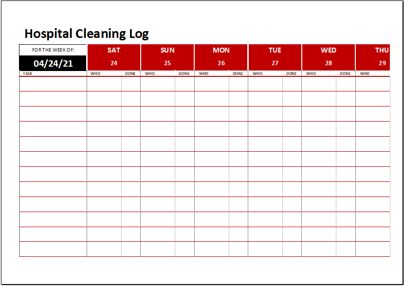 Hospital Cleaning Log Template