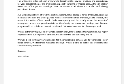 Letter of Gratitude and Appreciation for Medical Care