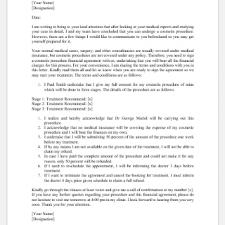 Cosmetic Procedure Financial Agreement Letter