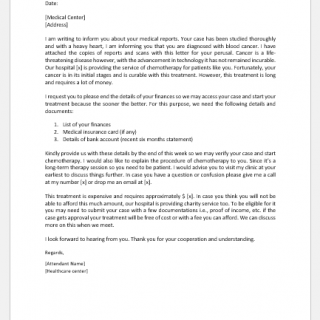 Letter to Patient to Provide Financial Details