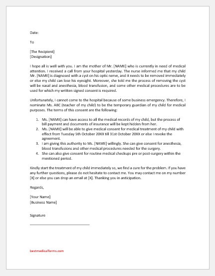 Medical Consent Letter for a Child